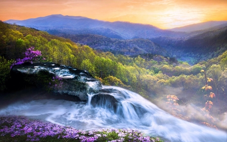 Water Cascades in the Appalachian Mountains in Spring