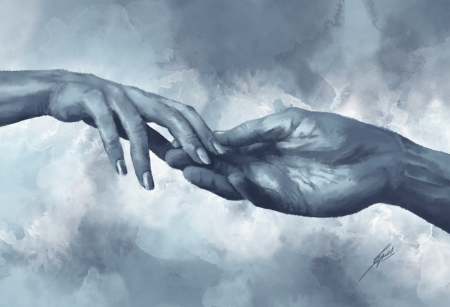 Weak force - fantasy, art, luminos, caitlin spies, hand, blue