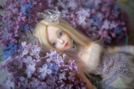 Lilac dream - blue, lilac, girl, toy, flower, dream, doll
