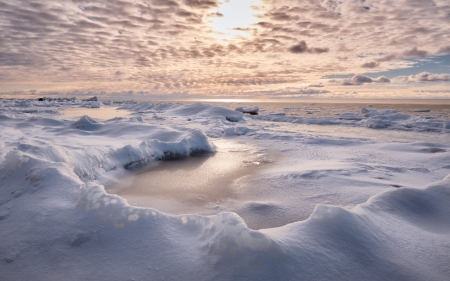 Snowy Beach in Latvia - beach, sun, snow, Latvia, ice, clouds, winter, sea