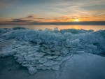 Ice by Sea at Sunset