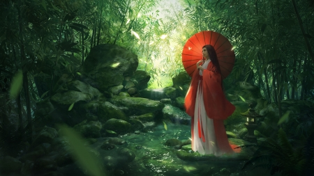 Girl with parasol - green, girl, umbrella, asian, parasol, shui, forest, red, luminos, fantasy