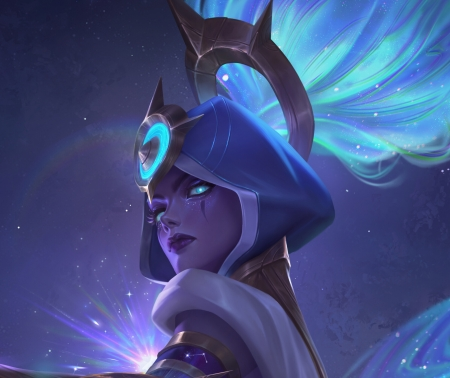 Zyra - blue, zyra, fantasy, luminos, girl, yini shao, face