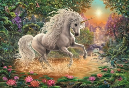 The Unicorn - creek, horse, waterlily, digital, waterfall, trees