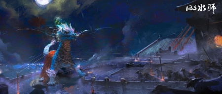 Kirin attack - fantasy, dark, asian, jack kew, dragon, world, art, luminos, kirin, night