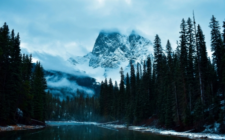 Emerald Lake. Yoho National Park, BC - winter, canada, forest, water, snow, mountains, trees