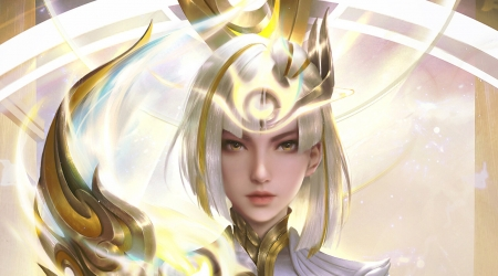 Golden goddess - face, goddess, golden, zhichao cheng, fantasy, yellow