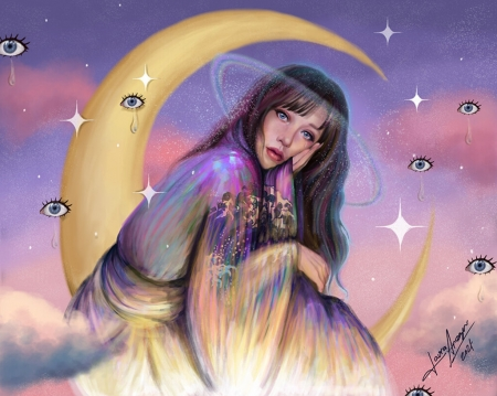 Artemis - laura aragon, fantasy, moon, artemis, yellow, pink, blue