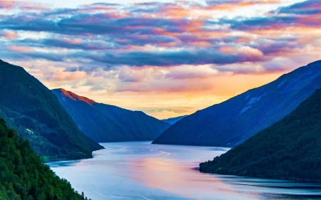 A Fjord in Norway during sunset - sky, reflection, mountains, water, colors, clouds