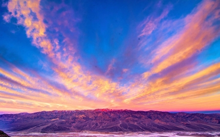 Dante's View, Death Valley, California - mountains, landscape, usa, colors, sky, clouds