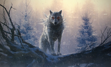 The Wolf - art, cg, paint, Wolf