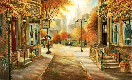 Carrie's Dance Academy - city, houses, painting, flowers, sunshine, trees, artwork, street