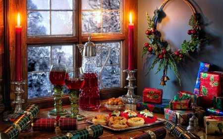 Christmas  decorations - Style, Glasses, Candles, Wine