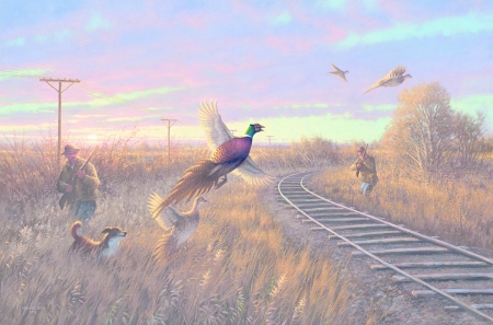 Walkin' the line - art, pheasant, bird, painting, pasari, pictura, hunter, dog