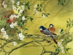 Chinese doves and spring flowers