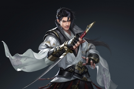 Fantasy man - assassin, fantasy, fighter, handsome, man, xianlong meng, white