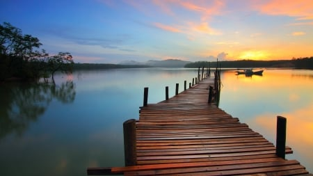 Pier - water, sunset, lake, pier