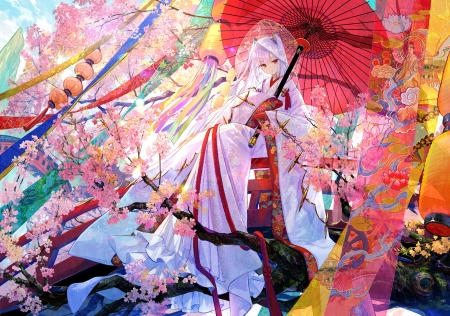 Kitsune Bride - japan, girl, japanese, kitsune, anime, umbrella, bride, cat, sakura