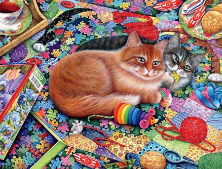 cats - paintings, beautiful, cats, animals
