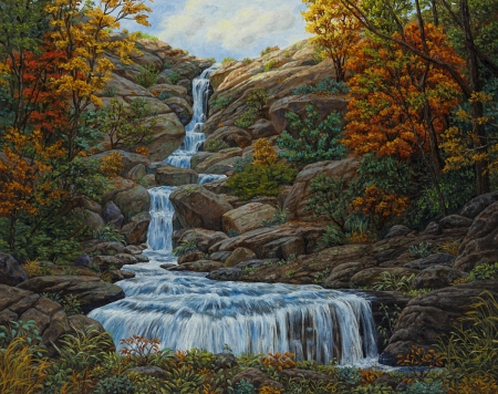 The Waterfall - rocks, waterfall, autumn, trees