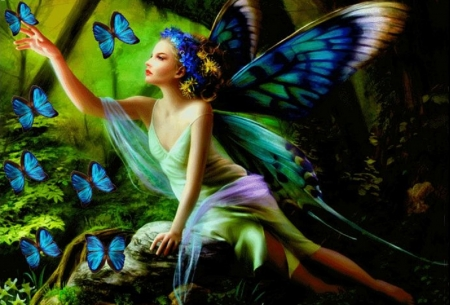 Butterfly Fairy - fantasy, girl, digital, butterflies, woman, fairy, art, forest, beautiful, wallpaper