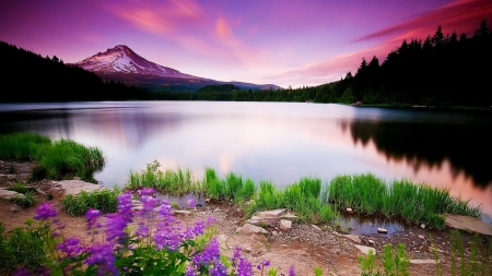 Sunset in spring - lake, water, mountains, colors, reflections, sky, clouds