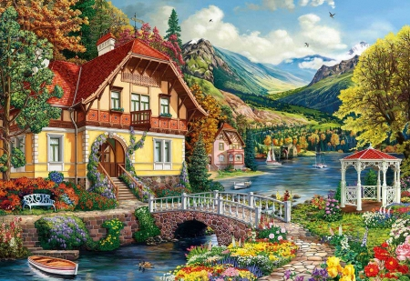 House by the pond - bridge, mountains, painting, flowers, river, sky, trees, spring, boat, gazebo