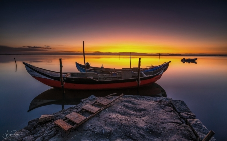 Boats in Lake - sunset, boats, Portugal, lake, dusk