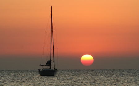 Yacht at Sunset - France, sunset, yacht, sea