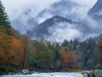 Skykomish, Washington as fog and snow roll in