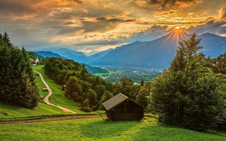 Sunset over the village Wamberg, Bavarian Alps - trees, germany, mountains, cabin, clouds, sky