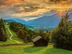 Sunset over the village Wamberg, Bavarian Alps