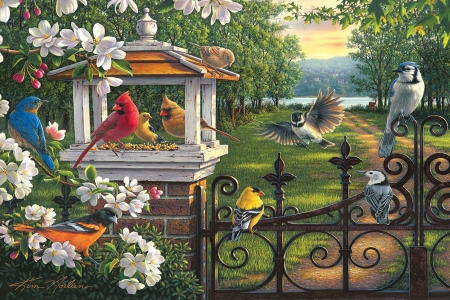 Springtime Melody - fence, cardinals, chickadees, blossoms, birds, flowers, trees, artwork, painting