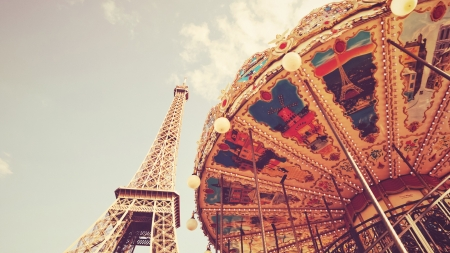 Eiffel Tower and carousel - eiffel tower, carousel, france, view from down, paris, eifel tower