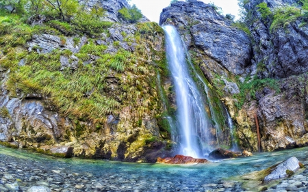 Thethi waterfall, Albania - cascade, water, river, mountains