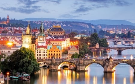 Prague, Czech Republic - river, Prague, bridges, Czechia, lights