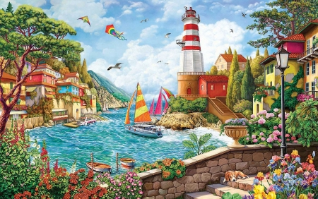 Stormy day at the Lighthouse - dog, houses, boats, painting, flowers, stairs, artwork