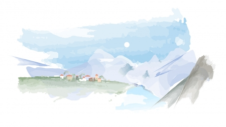 Village in the Valley - Firefox theme, art, city, mountains, painted, village, pastels, valley