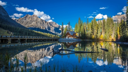 Emerald Lake, Yoho NP, British Columbia - mountains, canada, water, clouds, reflections, sky, trees
