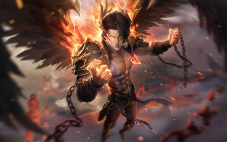 Angel or demon? - angel, demon, kongsheng lei, wings, fantasy, man