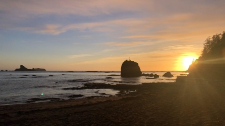 Sunset at Shi Shi Beach, Clallam County, Washington - sunset, usa, sea, rocks, sun, sky