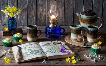 Welcoming in the Spring - spring, mugs, still life, lamp, book, flowers