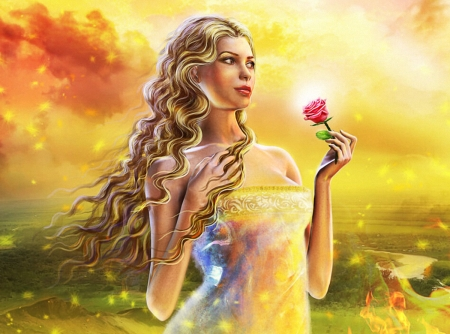 Burning Sky - yellow, sky, girl, rose