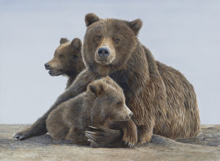 Grizzly Family - painting, bears, grizzly, animals