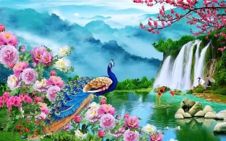 Paradise - peacock, waterfall, spring, blooms, art, fish, beautiful, mist, pond, mountain, paradise
