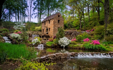 Water mill in spring - water, mill, flowers, spring, park, beautiful, brook, forest, stones, waterfall
