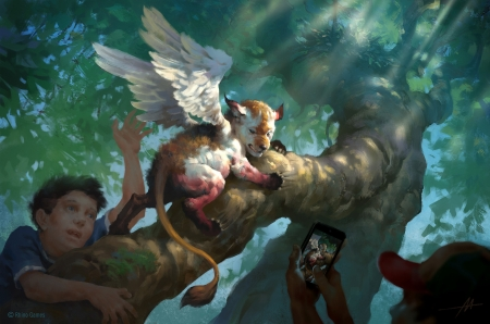 Simargl hatchling - art, fantasy, tree, wings, alexander mokhov, creature, lion