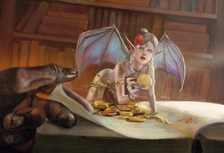 Hunting for gold - art, wings, luminos, golden, superb, coin, demon, gold, fantasy, mini, girl, bat, hand, fairy, ramzi firhx, gorgeous