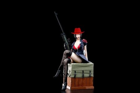 Defend Freedom - hats, cowgirl, boots, crate, women, hat, rifle, brunettes, western