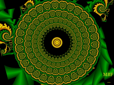 MBF fractal - green, abstract, textures, pretty, modified, mbf